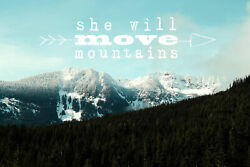 'She Will Move Mountains' by Sylvia Cook Painting Print on Wrapped Canvas