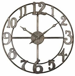 Large 32quot; Open Bronze Contemporary Wall Clock Round Metal Mid Century Modern $217.80