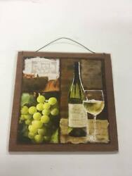 white wine and grapes kitchen decor wooden wall sign tuscan scene fruit winery