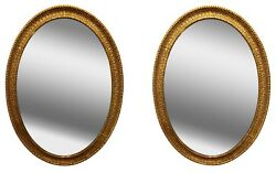Pair of Large 19th Century French Gilt-Wood Carved Oval Shaped Mirrors