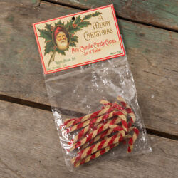 Set of 12 Christmas Primitive Rustic Country Mini Chenille Candy Cane Ornaments $5.75