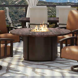 Homecrest Outdoor Living Chat Polyresin TopAluminum Base Propane Gas Fire Pit