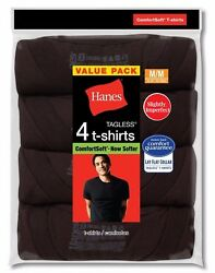 Men#x27;s Hanes Comfortsoft Crew Neck S S Tagless 4 Pack T shirts By Color Size $14.99