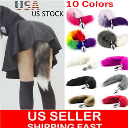 Funny Beginner Red Fox Faux Tail Plug Butt Stopper Anal Slicone Adult Toy Game