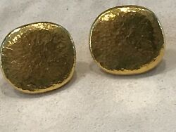 GURHAN 24K Yellow GOLD PEBBLE PIERCED EARRINGS