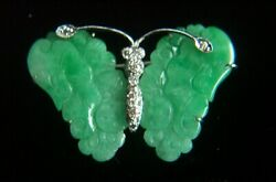 Fabulous 18K White Gold Diamond Jadeite Jade Butterfly Brooch Pin Pendant