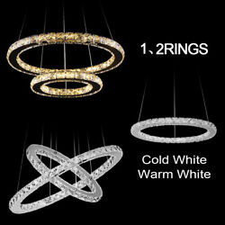 Modern LED Crystal Ring Chandelier Hanging Pendant Light Ceiling Lamp Fixtures $24.98