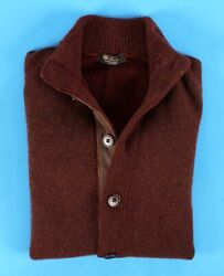 $2545 NWT - LORO PIANA 100% BABY CASHMERE Button Bomber Sweater- Burgundy 48 S M