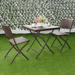 Patio Outdoor Garden Lawn Folding Rattan Wicker Seat Picnic Table With 2 Chairs