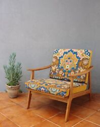 Embroidered Lounge Chair Mid Century Armchair Scandinavian Wooden Furniture