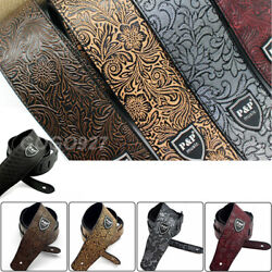 Adjustable Leather Guitar Strap Embossed for Acoustic Electric Guitar Strap $10.98