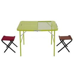 OUTDOOR FOLDABLE PORTABLE PICNIC CAMPING GARDEN FOLDING TABLE & 2 CHAIR SET US