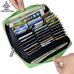 Mens Womens Leather Large Capacity Credit ID Card Holder RFID Blocking Wallet $14.99