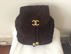 Chanel Brown Suede Backpack Gold Hardwear