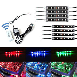 8pcs RGB Multi-Color LED Engine Bay or Under Car Lighting Kit w Wireless Remote