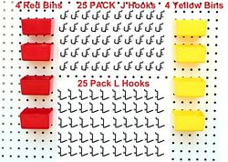JSP Peg Hook Kit Plastic Bin amp; Locking Pegboard Hooks 58 Piece Black Small Bins $9.99