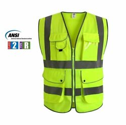 Multiple Pockets Class 2 High Visibility Zipper Front Safety Vest $9.99