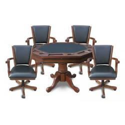 NEW BlueWave POKER TABLES NG2366 Walnut Kingston 3-In-1 Poker Table w 4 Chairs