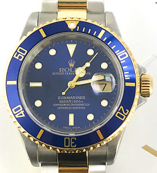 Rolex Submariner Blue & Two-Tone 18k Gold 16613 Stainless Steel Diver Box+ Book