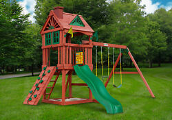 Gorilla Playsets Nantucket Cedar Wood Swing Set Outdoor Backyard Kids Playground
