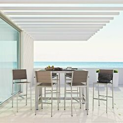 7PC Aluminum Outdoor Patio Furniture Dining Set in Silver Gray