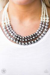 Paparazzi Jewelry whitesilver and dark gray pearls Necklace w Earrings Nwt
