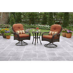 Patio Bistro Set Garden Furniture Glass Top Table Outdoor 2 Wicker Swivel Chairs