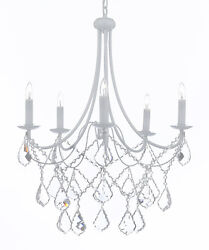 WROUGHT IRON CRYSTAL WHITE CHANDELIER LIGHTING COUNTRY FRENCH FIXTURE LAMP LIGHT $67.32