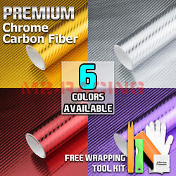 *Premium Chrome Carbon Fiber Sticker Decal Vinyl Wrap Air Release Bubble