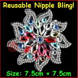 USA!~Exclusive Lg Colorful Flower Crystal Nipple Pasties Bra Body Jewel Stickers