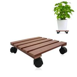Indoor Outdoor Wooden Caddy Plant Stand Dolly Lockable Rolling Wheels Caster