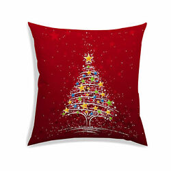 Christmas 3D Cushion Cover Satin Decor Square Bedding Throw Pillow Case Red $12.99