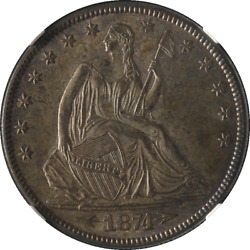 1874-P Seated Half Dollar Arrows CAC Sticker NGC MS64 Great Eye Appeal