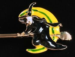 FUN SCARY HAPPY HALLOWEEN MOON SKY FLYING BROOM WITCH PIN BROOCH JEWELRY $10.55