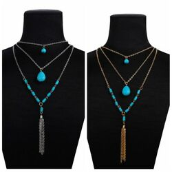 1pcs Newest Boho Women Turquoise Hippie Bohemian Multilayer Necklace Jewelry