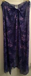 Lands#x27; End Sz S Purple Blue Floral Sheer Stretchy Bathing Cover Up Sarong Skirt $14.99