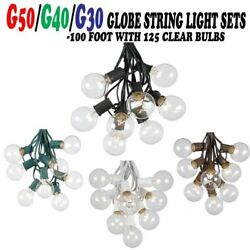 100 Foot Globe Patio Outdoor String Light Sale G50G40G30 Clear Bulb Fairy LOT