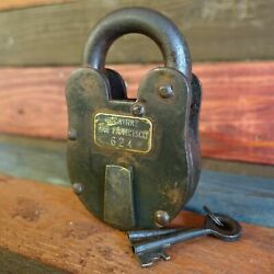 Alcatraz San Francisco XL 3quot; x 5quot; Cast Iron Lock amp; Keys Antique Finish $39.99