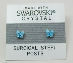 Blue Butterfly Stud Earrings 4mm Small Light Crystal Made with Swarovski Element