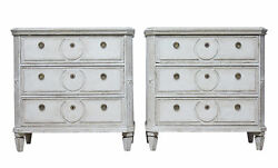 PAIR OF 19TH CENTURY PAINTED SWEDISH CHEST OF DRAWERS