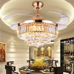 42quot; Rose Gold Invisible Ceiling Fan Lamp Remote LED Crystal Lighting Chandeliers $206.79