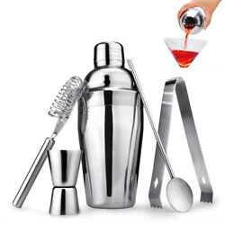 5pcs Set Stainless Steel Cocktail Shaker Mixer Drink Bartender Martini Tool Bar $13.86