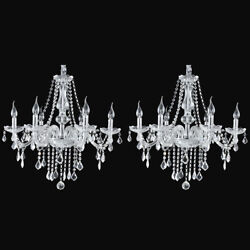 2 Pack Elegant K9 Crystal Candle Chandelier Pendant Ceiling Light 6 Lamp E12 $121.98