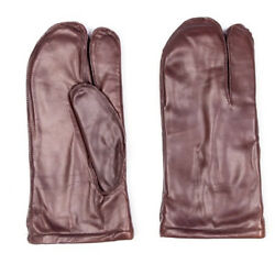 Authentic French Army Leather 3 Finger Mittens Shooting Gloves Brown Leather $13.95