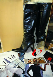 Gorgeous Michael Kors Luxury Runway Collection Black Leather Boots