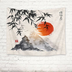 Japanese Bamboo Trees Sun Mountains Tapestry Wall Hanging Living Room Bedroom $13.99