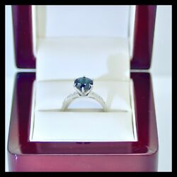 3.30Ct Genuine Royal Blue Sapphire Engagement Wedding Ring 18K White Gold