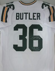 Packers LEROY BUTLER Signed White Replica Custom Jersey AUTO w SB XXXI Champs