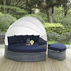 Outdoor Patio Wicker Rattan Canopy Daybed & Sunbrella® Canvas Navy Cushion