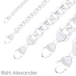 Real 925 Sterling Silver Mens Diamond Cut Curb Cuban Chain Bracelet or Necklace $6.49
